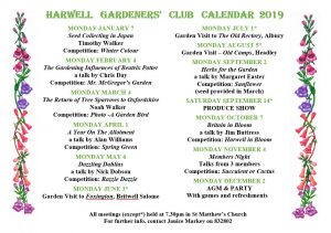 Harwell Gardeners Club 2019 Calendar
